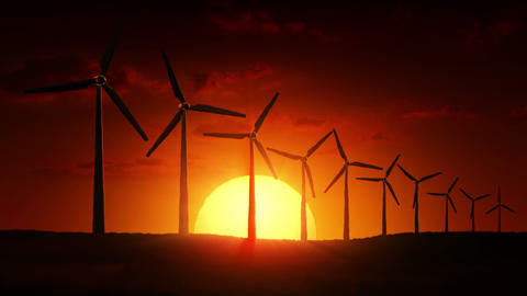 Wind Turbines at sunrise Animation