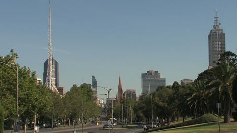 Downtown Melbourne street Stock Video Footage