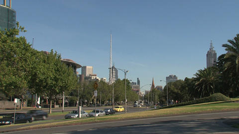 Downtown Melbourne street with St. Paul's Cathedral Stock Video Footage
