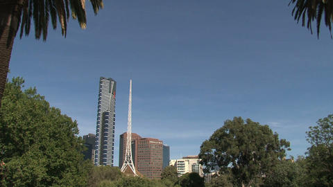 Victorian Arts Centre Spire and Eureka Tower Footage