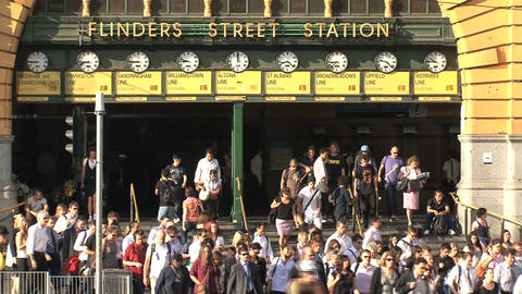 Busy Flinders station Stock Video Footage