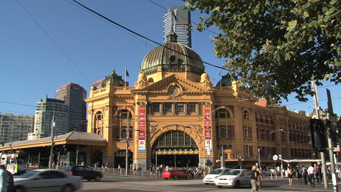 Flinders station crossroad with busy traffic Stock Video Footage