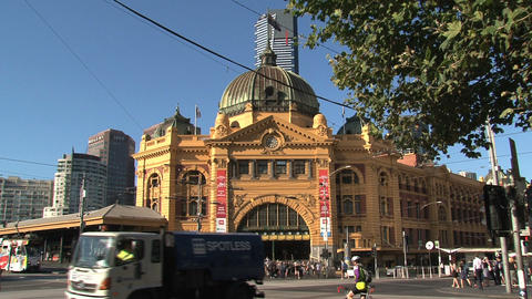 Flinders station crossroad with busy traffic Footage