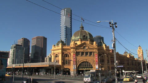 Wide shot from the Flinders station Stock Video Footage