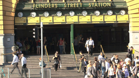 Flinders station crossroad with people Stock Video Footage