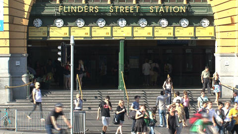 People leaving Flinders station Stock Video Footage