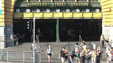 People leaving Flinders station Stock Video Footage