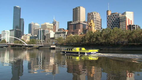 Yellow ferry at the yarra river Stock Video Footage