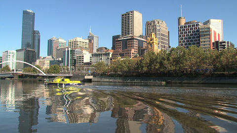 Yellow ferry at the yarra river Footage