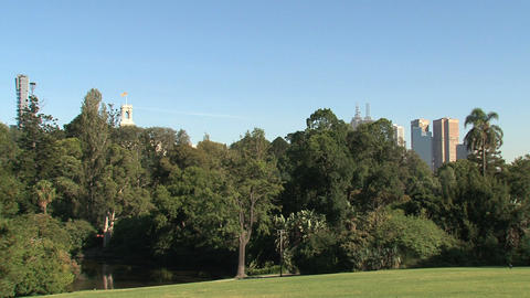 Royal Botanic Gardens downtown Melbourne Stock Video Footage