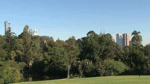 Royal Botanic Gardens downtown Melbourne Footage
