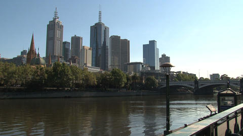 Yarra river with the St. Paul's Cathedral at the background Stock Video Footage