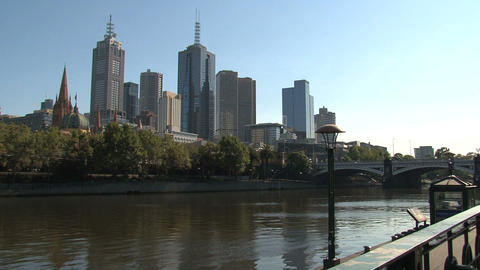Yarra river with the St. Paul's Cathedral at the background Footage