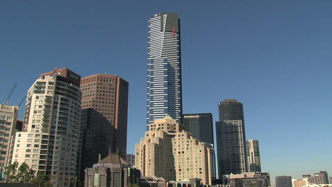 Eureka tower with other skyscrapers Stock Video Footage
