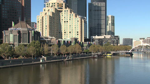 Eureka tower tilt down to the yarra river Footage