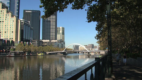 Walking next to the yarra river Footage