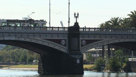 Tram at the princes bridge Stock Video Footage