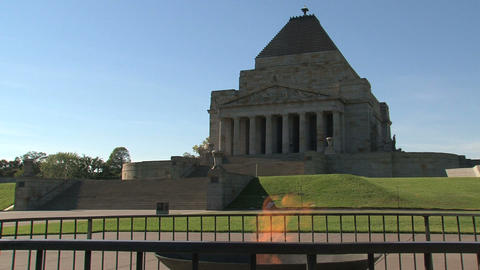 Fire infront of the Melbourne Shrine of Remembrance Stock Video Footage