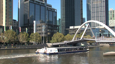 Ferry at the Yarra river Footage