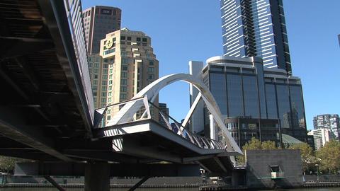 Tilt Eureka tower to yarra river in Melbourne Footage