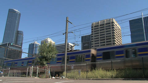 Train arriving at flinders station Stock Video Footage