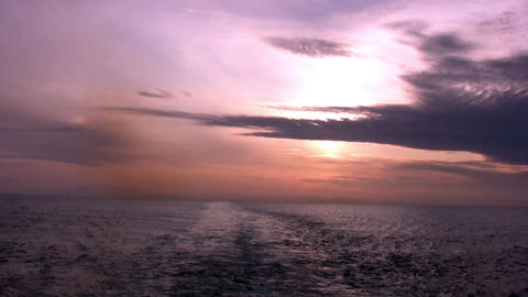 Sea. Red Sunset Footage