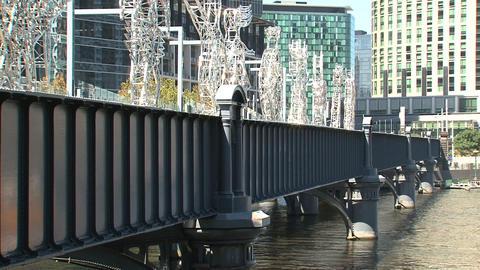 Ferry passing by the Sandridge Bridge Stock Video Footage