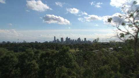 Melbourne skyline zoom out Stock Video Footage