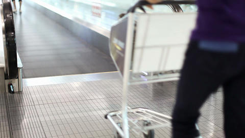 A woman with a cart stands on walkway Stock Video Footage