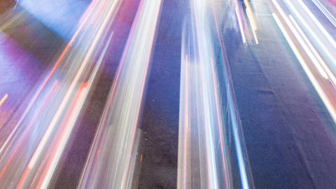 4K - LIGHT TRAILS TIME LAPSE - Street Crossing stock footage