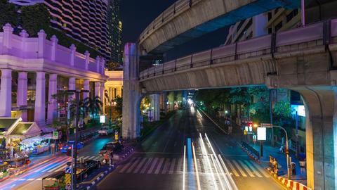 4K - BANGKOK CENTRAL WORLD TRAFFIC AT NIGHT Stock Video Footage