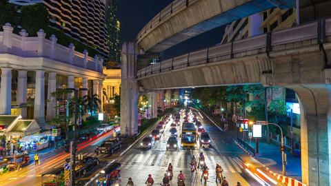 4K - BANGKOK CENTRAL WORLD TRAFFIC AT NIGHT Stock Video Footage