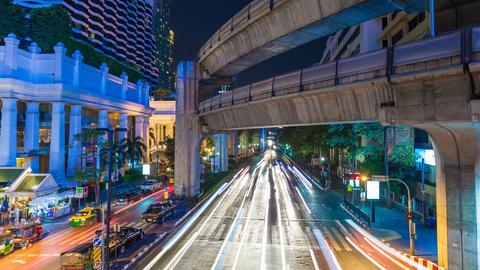 4K - BANGKOK CENTRAL WORLD TRAFFIC AT NIGHT Footage