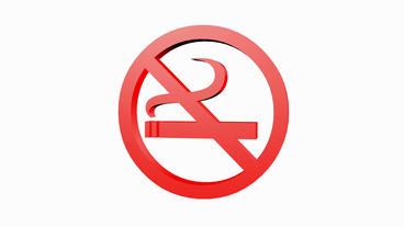 Rotation of 3D No Smoking.cigarette,forbidden,symbol,sign,stop,warning,hazard,he Animation