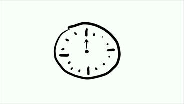 Stick figure of alarm clock,Hand-drawn video... Stock Video Footage