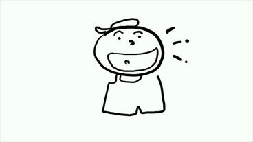 smiling boy open his arms,big mouth,talking.Hand drawing... Stock Video Footage