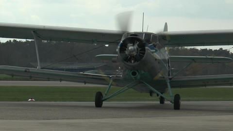 historic antonov an-2 biplane on rollway closeup Stock Video Footage