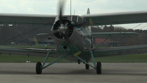 historic antonov an-2 biplane on rollway closeup Footage
