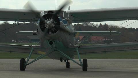 historic antonov an-2 biplane on rollway closeup Stock Video Footage