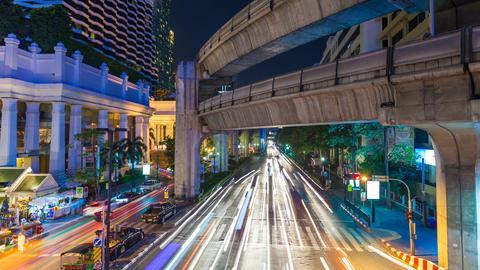 1080p - BANGKOK CENTRAL WORLD TRAFFIC AT NIGHT Stock Video Footage