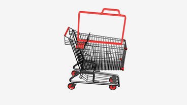 Shopping Cart with briefcase.retail,buy,isolated,cart,shop,basket,sale,customer, Animation
