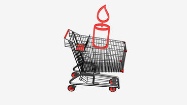 Shopping Cart and candles.retail,buy,cart,shop,basket,sale,customer,discount Animation