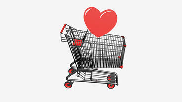 Shopping Cart and heart.retail,buy,cart,shop,basket,sale,customer,discount,super Animation