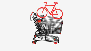 Shopping Cart and Bicycle.retail,buy,cart,design,shop,basket,sale,customer,disco Animation