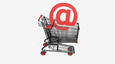 Shopping Cart and @ Symbol.retail,buy,isolated,cart,design,shop,basket,sale Animation