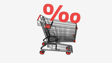 Shopping cart with discount... Stock Video Footage
