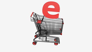 Shopping Cart with Letter e.Internet,network,retail,buy,isolated,cart,design,sho Animation