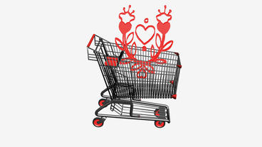 Shopping Cart And Flower.retail,buy,cart,shop,basket,sale,supermarket,market stock footage