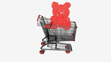 Shopping Cart with Bear... Stock Video Footage