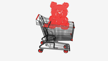 Shopping Cart with Bear toy.retail,buy,cart,shop,basket,sale,discount,supermarke Animation